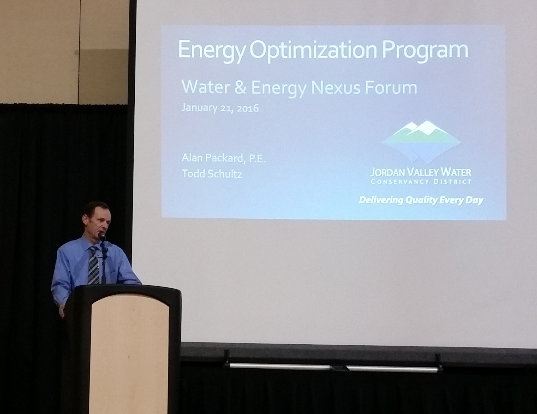 Alan Packard presents results of Jordan Valley Water's energy management program. (Robert B. Sowby)