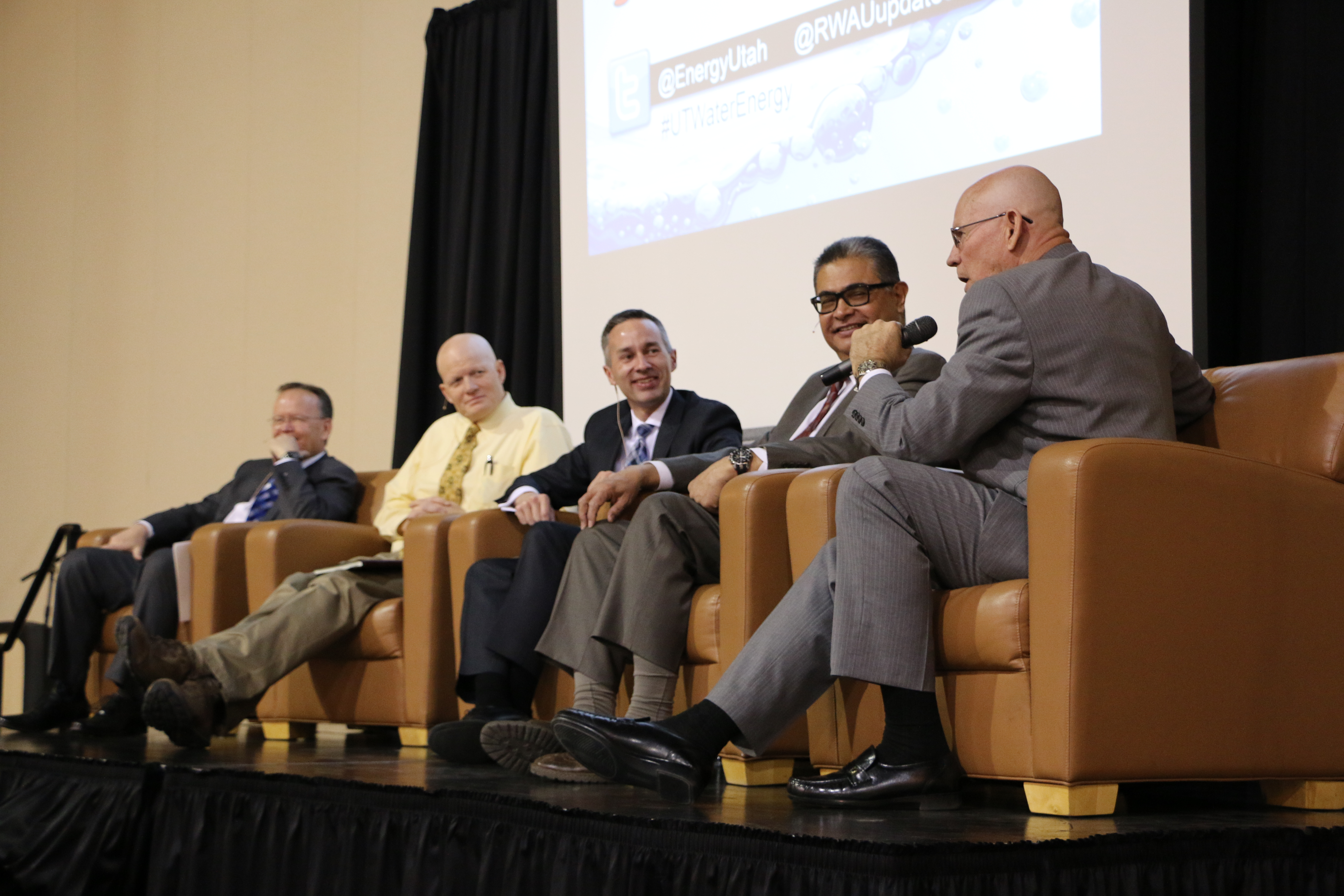 A panel discusses water and energy issues. (Meghan Stettler, Governor's Office of Energy Development)